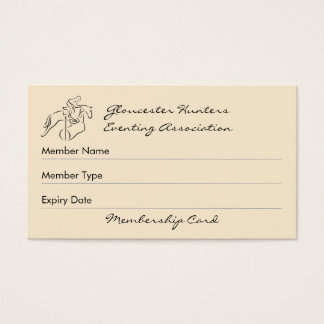 Hunter eventer club membership business card
