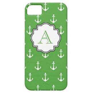 Hunter Green Anchor Print Monogram iPhone 5 Covers