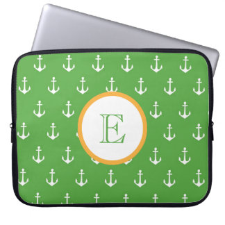 Hunter Green and Gold Anchor Laptop Sleeve
