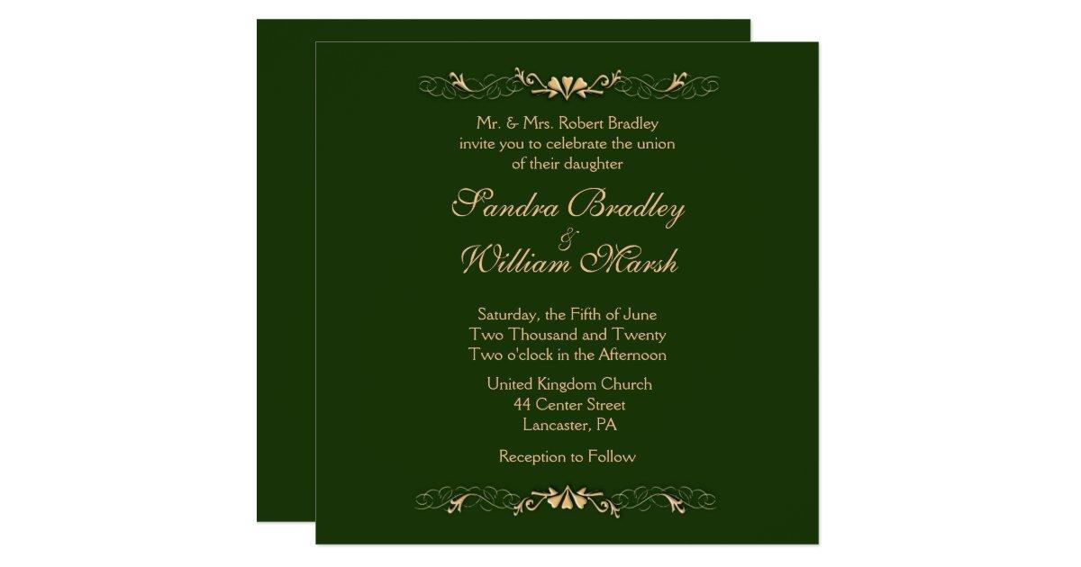 Hunter Green And Gold Wedding Invitation Zazzle