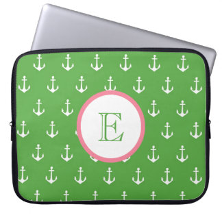 Hunter Green and Light Pink Anchor Laptop Sleeve
