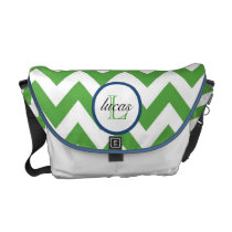 Hunter Green and Navy Blue Monogram Diaper Bag