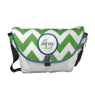 Hunter Green and Navy Blue Monogram Diaper Bag