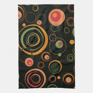 Hunter Green and Peach Playful Retro Circles Hand Towel