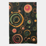 Hunter Green and Peach Playful Retro Circles Hand Towels