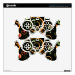 Hunter Green and Peach Playful Retro Circles PS3 Controller Skins
