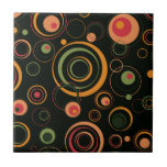 Hunter Green and Peach Playful Retro Circles Tiles