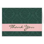 Hunter Green and Pink Elegant Thank You H207 Greeting Card
