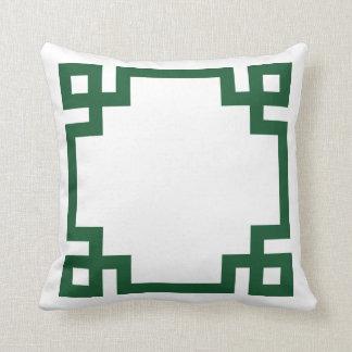Hunter Green and White Greek Key Border Throw Pillow