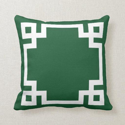 Hunter Green and White Greek Key Border Throw Pillow Zazzle