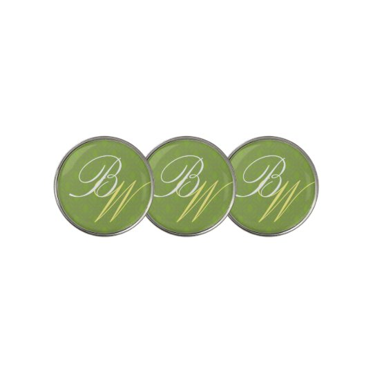 Hunter Green Art Deco Stylized Initials Template Golf Ball Marker