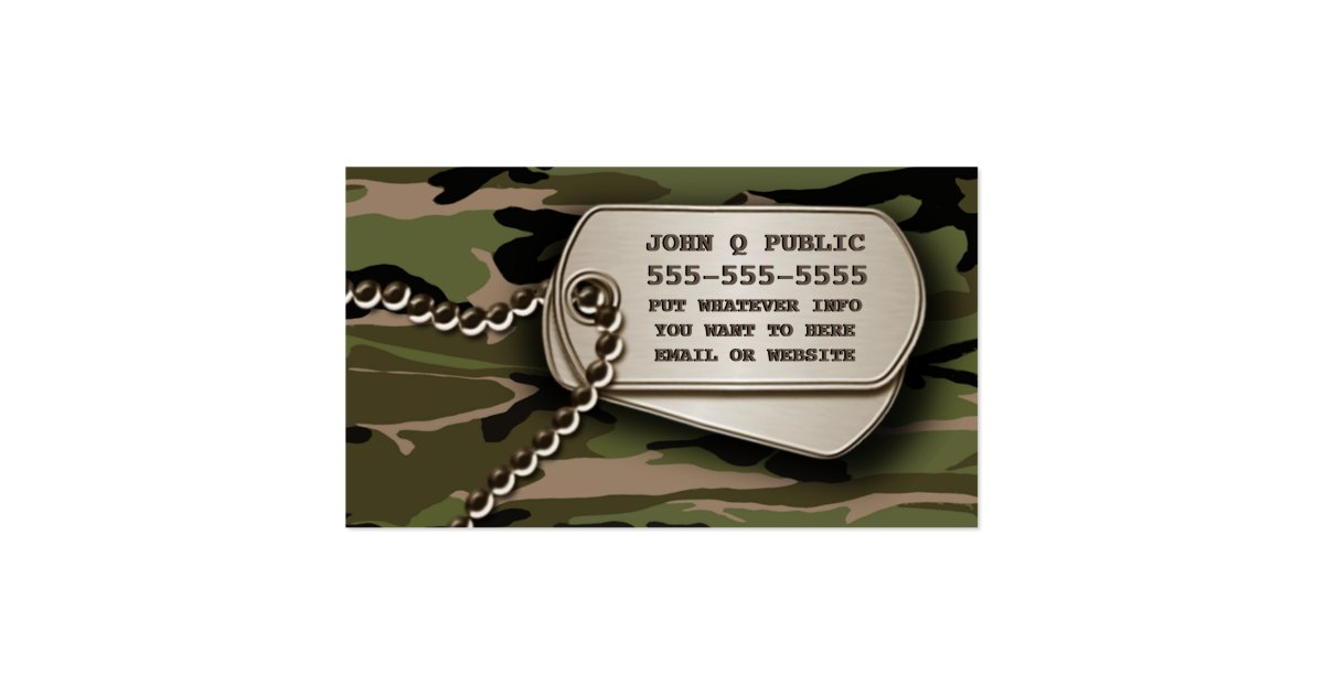 Hunter green camo dog tags business card zazzle for Dog tag business cards