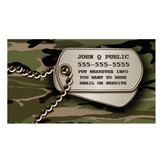 Hunter Green Camo Dog Tags Double-Sided Standard Business Cards (Pack Of 100)