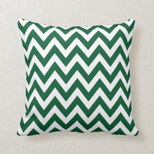 Hunter Green Chevron Zigzag Pattern Pillows