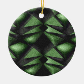 Hunter Green Dubious Diamond Ceramic Ornament