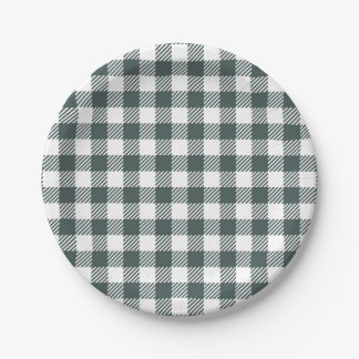 Hunter Green Gingham Pattern Paper Plate