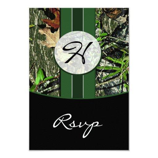 "Hunter Green Hunting Camo Wedding RSVP Cards 3.5"" X 5"" Invitation Card"