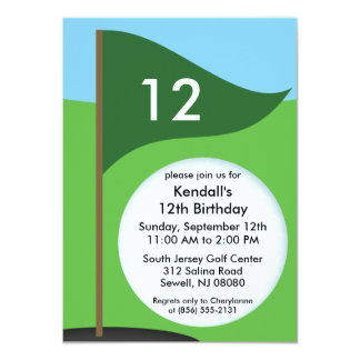 Hunter Green Let's Bogie Mini Golf Birthday Party Card