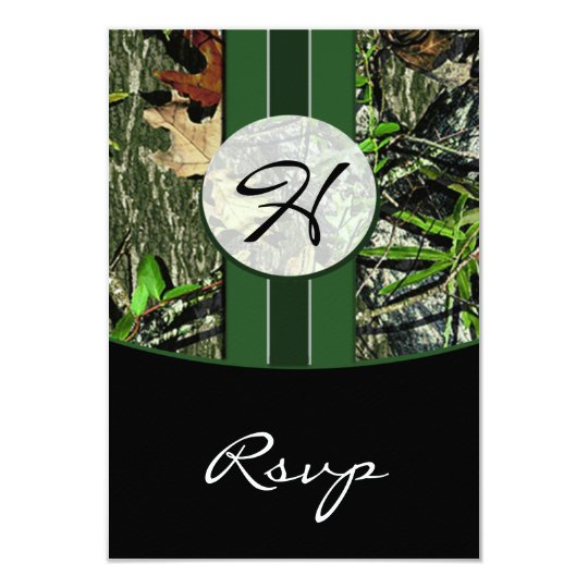 Hunter Green Monogram Camo Wedding RSVP Cards