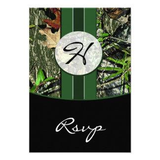 Hunter Green Monogram Camo Wedding RSVP Cards Invites