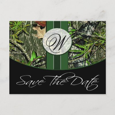 Hunter Green Monogram Camo Wedding Save the Dates Postcard by natureprints