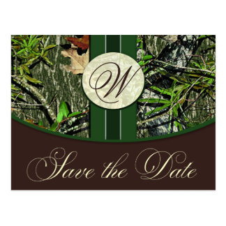 Hunter Green Monogram Camo Wedding Save the Dates Postcard