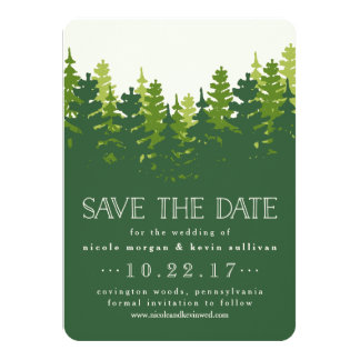 Hunter Green Pine Forest Save the Date Card