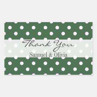 Hunter Green Rectangle Custom Polka Dots Thank You Rectangular Sticker