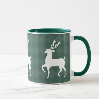 Hunter Green Reindeer Christmas Mug