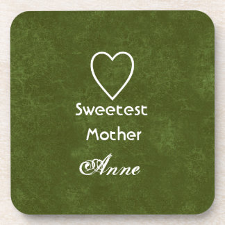 Hunter Green Sweetest Mother Heart and Name Drink Coaster