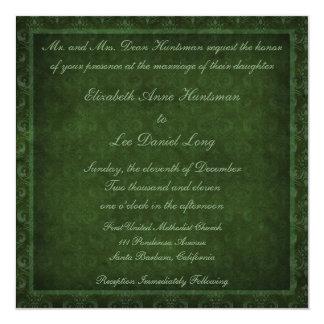 Hunter Green Vintage Damask Wedding Invitations