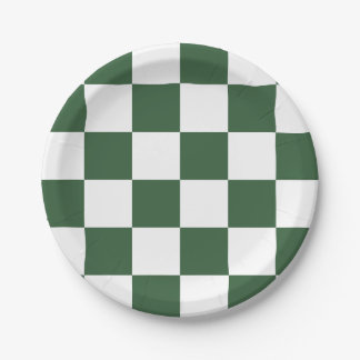 Hunter Green/White Checkered Paper Plate