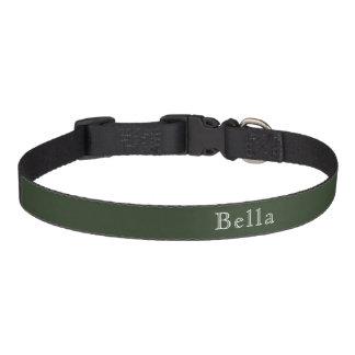 Hunter Green White Lettering Name Minimalist Pet Collar