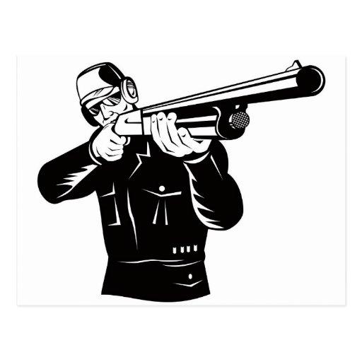 hunter hunting aiming shotgun rifle postcard