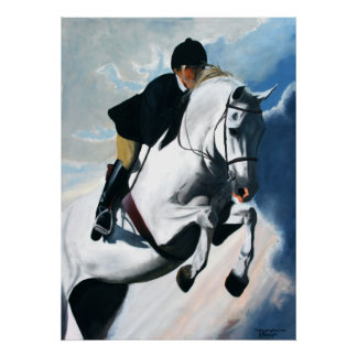 Hunter Jumper Acrylic Painting Poster