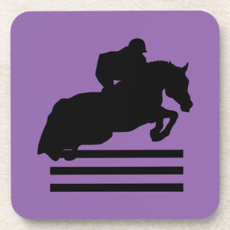 Hunter Jumper Horse and Rider Black Silhouette Coaster