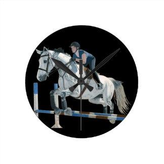 Hunter/Jumper Horse Black Wall Clock