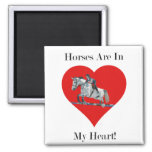 Hunter/Jumper Horse in Heart 2 Inch Square Magnet