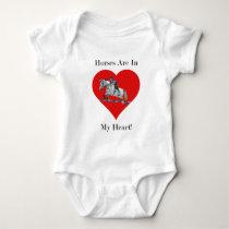 Hunter/Jumper Horse in Heart Baby Bodysuit