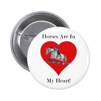 Hunter Jumper Horse in Heart Pinback Button