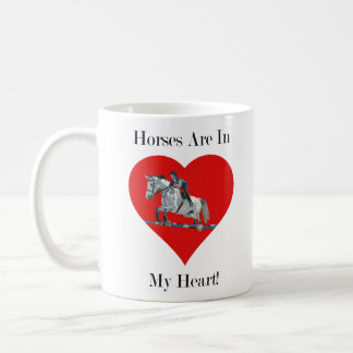 Hunter/Jumper Horse in Heart Coffee Mug