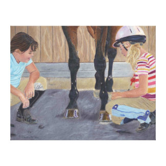 Hunter Jumper Horse & Kids Wrapped Canvas Canvas Print