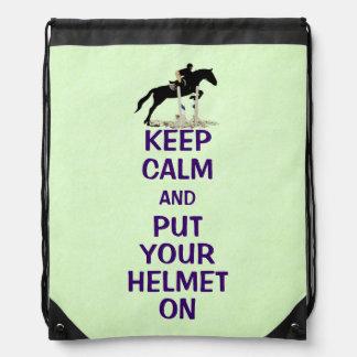 Hunter Jumper Horse Drawstring Backpacks