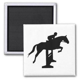 Hunter Jumper Horse & Rider 2 Inch Square Magnet