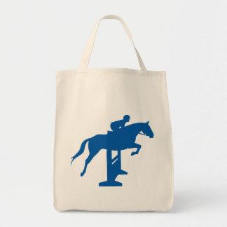 Hunter Jumper Horse & Rider (blue) Grocery Tote Bag