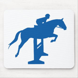 Hunter Jumper Horse & Rider (blue) Mouse Pad