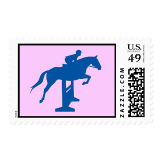Hunter Jumper Horse & Rider (blue) Stamp