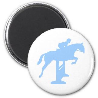 Hunter Jumper Horse & Rider (light blue) 2 Inch Round Magnet