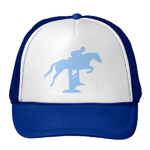 Hunter Jumper Horse & Rider (light blue) Mesh Hats