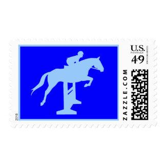 Hunter Jumper Horse & Rider (light blue) Postage Stamp